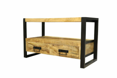 TV meubel Iron Wood Deluxe - 102 cm - Mangohout bij Jeha de Meubelconcurrent