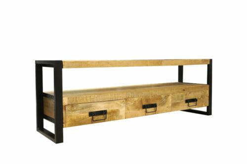 TV meubel Iron Wood Deluxe - 160 cm - Mangohout bij Jeha de Meubelconcurrent