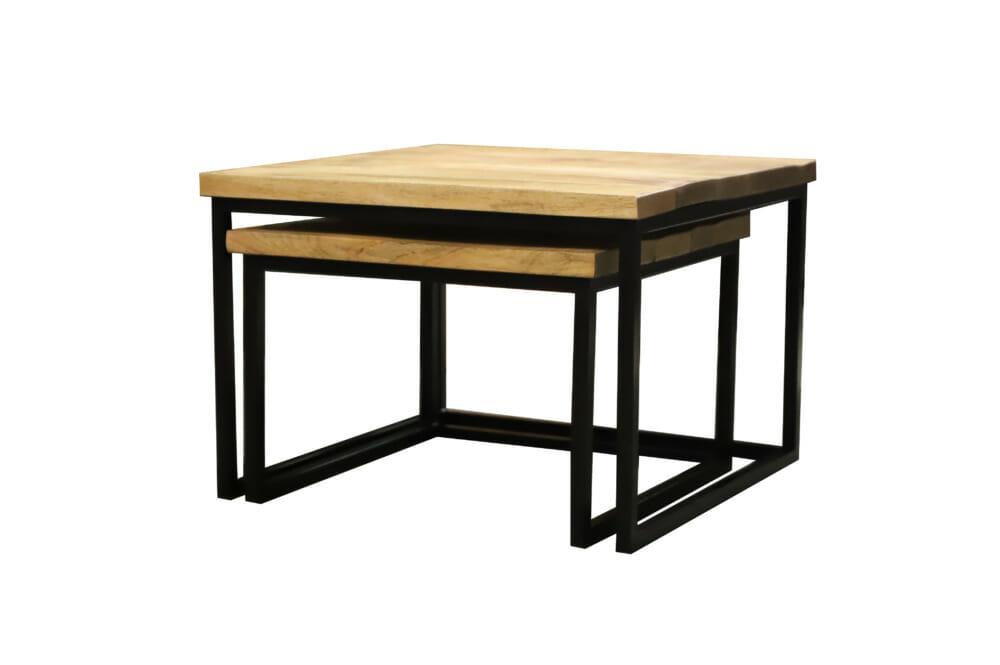 Industriele Vierkante Tafel.Tweedelige Salontafelset Vierkant Mangohout Jeha De