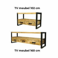 tv meubel woonkamerset iron wood mangohout