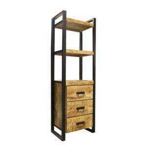 Jeha Home Collection Boekenkast Iron Wood Deluxe – Met 3 lades