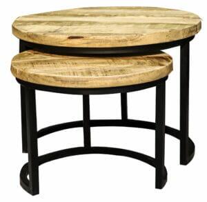 Jeha Home Collection Tweedelige Salontafelset – Iron Wood Deluxe Rond – Mangohout