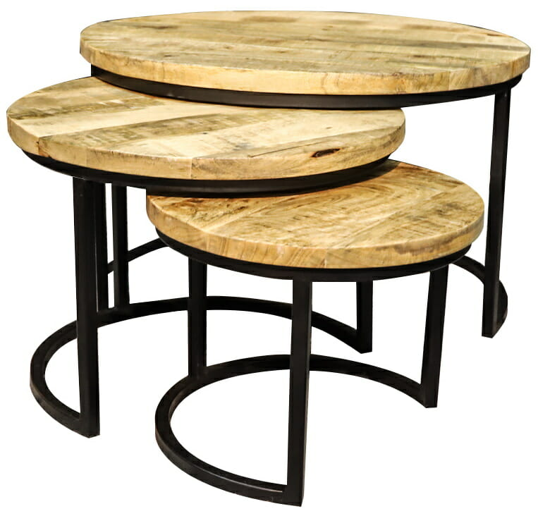 Jeha Home Collection Driedelig Salontafelset Iron Wood Deluxe – Mango Hout