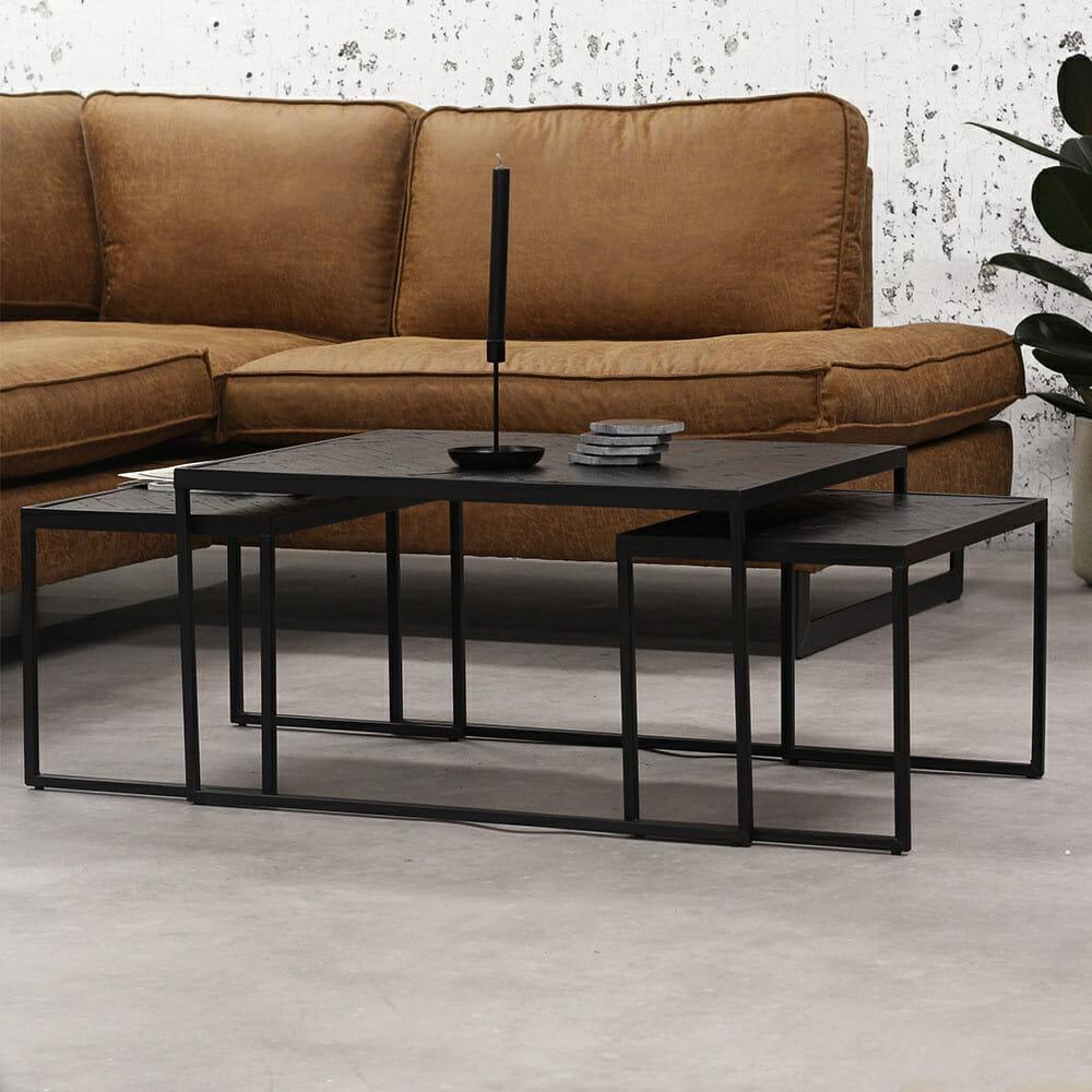 Style your Home Salontafelset Vanja Black – Set van 3 – Zwart