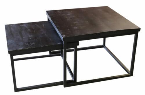 Tweedelig Salontafel Set Vierkant Zwart Mangohout bij Jeha de Meubelconcurrent